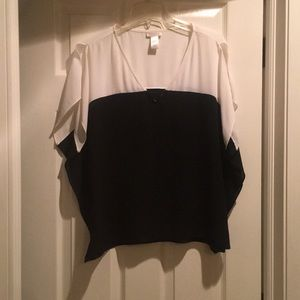 Cache black and white sheer top